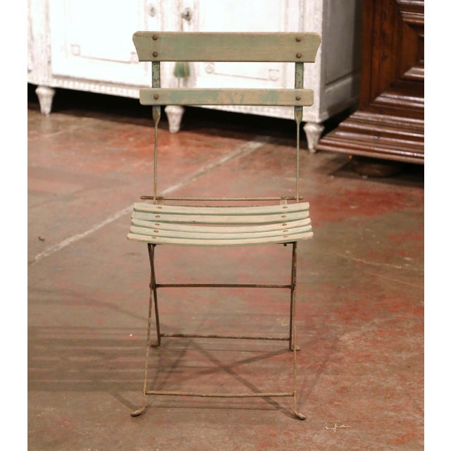 Set of Four 1920s French Iron and Wood Painted Folding Garden Chairs For Sale In Dallas - Image 6 of 13
