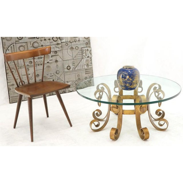 Round Decorative Gilt Wrought Iron Base Glass Top Sunburst Coffee Table For Sale - Image 6 of 13