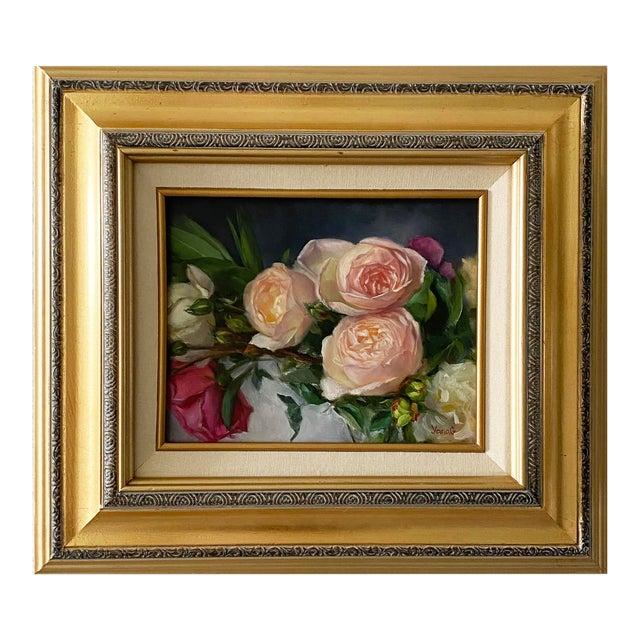 Oil Painting of Garden Roses - Framed For Sale