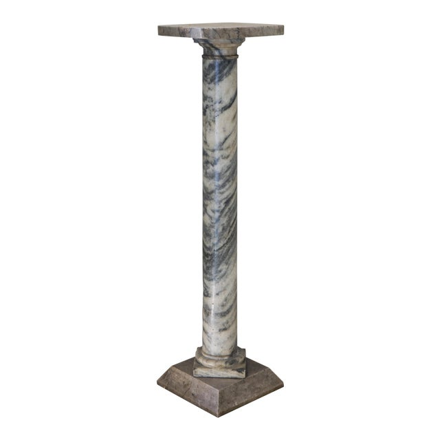 Italian Solid Carrara Marble Pedestal For Sale