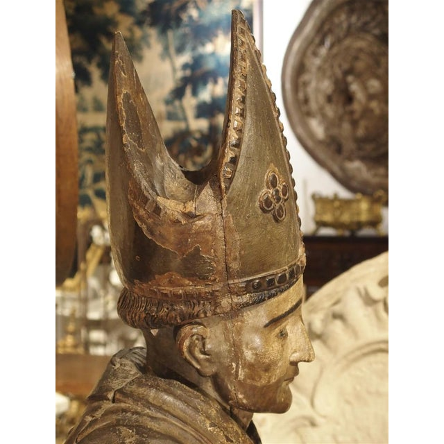 Large Antique Polychromed Wood Statue of a Bishop, Circa 1650 For Sale - Image 11 of 12