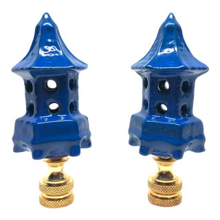 Chinoiserie Royal Blue Lacquered Porcelain Pagoda Lamp Finials - a Pair For Sale