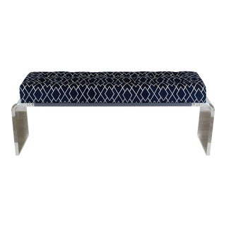 Waterfall Lucite Bench, Blue Chenille Bench With Geometric Pattern For Sale