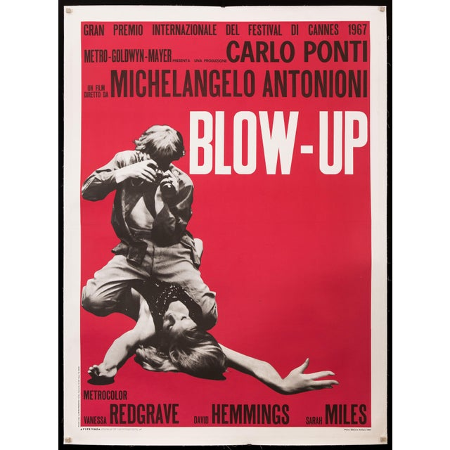 """Original Italian film poster for a 1970's re-release of Michelangelo Antonioni's 1966 masterpiece """"Blow Up"""", featuring a..."""