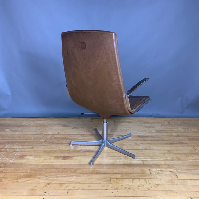 "1970s Fabricius & Kastholm ""Logos"" Leather Swivel Chair, 1970s For Sale - Image 5 of 12"