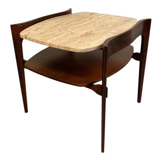 Travertine and Walnut Side Table by Bertha Schaefer For Sale