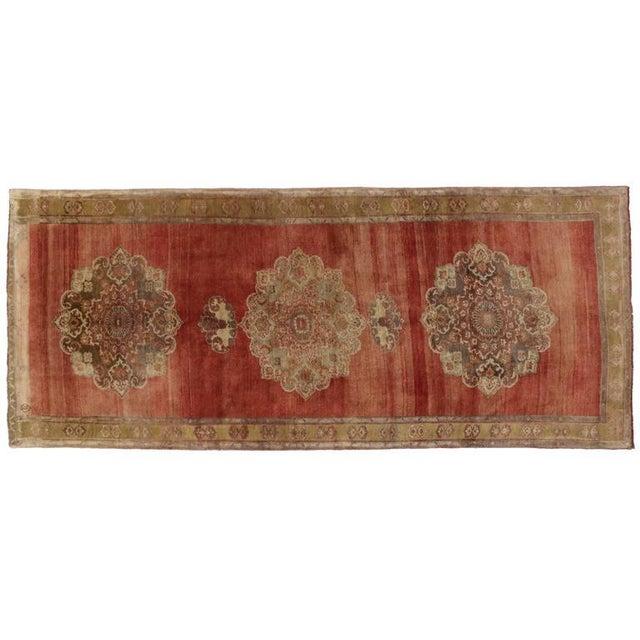 Vintage Turkish Oushak Carpet Runner For Sale - Image 5 of 6