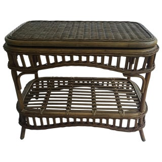 Vintage Wicker Swivel Top Coffee Table For Sale