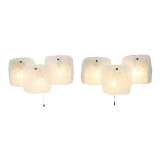 Pair of Kalmar Ice Glass Wall Sconces, Austria, 1960. For Sale