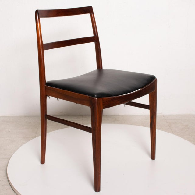 Black Mid Century Danish Modern Set of 6 Dining Chairs by Arne Vodder for Sibast 430 For Sale - Image 8 of 11