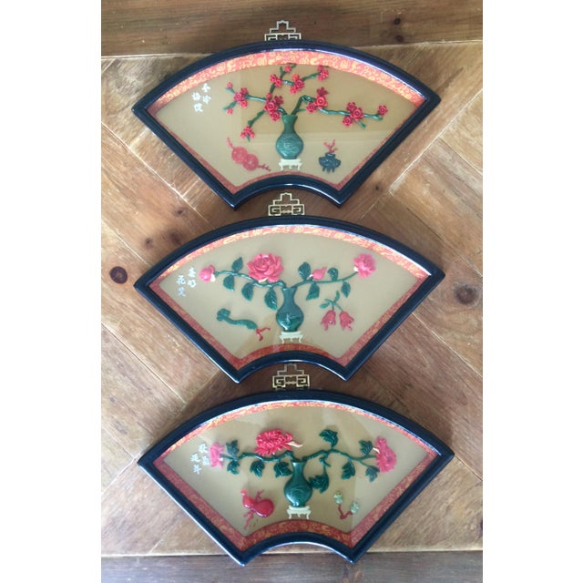 Chinese Art Fan Shadow Box/Diorama - Set of 3 For Sale - Image 9 of 10