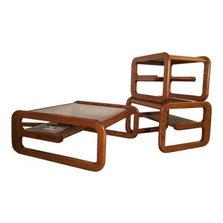 1960s Mid-Century Modern Lou Hodges Cantilever Modern Comfort Table Set - 3 Pieces For Sale