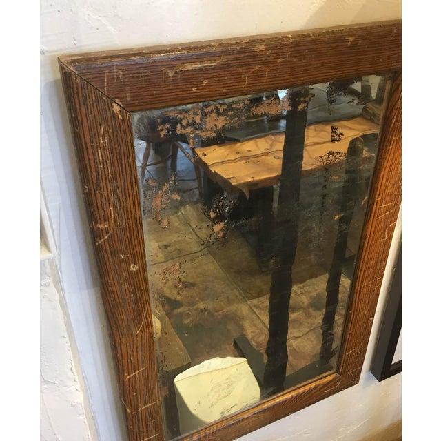 Vintage Faux Wood Grain Metal Mirror For Sale - Image 4 of 5