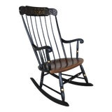 Image of L. Hitchcock Black Maple Harvest Boston Style Windsor Rocking Chair For Sale