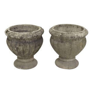 French Round Garden Stone Planters- a Pair For Sale