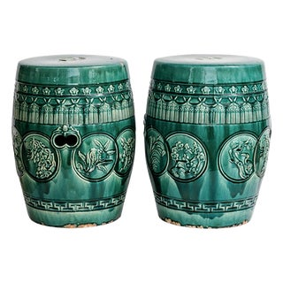Antique Chinese Emerald Green Garden Stools, A-Pair For Sale