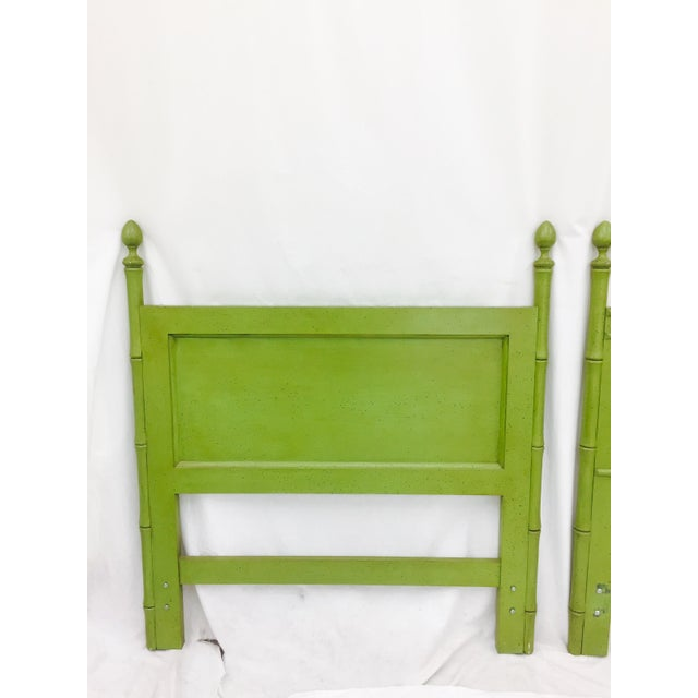 Vintage Green Faux Bamboo Twin Beds - a Pair - Image 8 of 9
