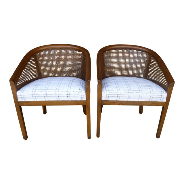 Mid-Century Cane Chairs - A Pair For Sale