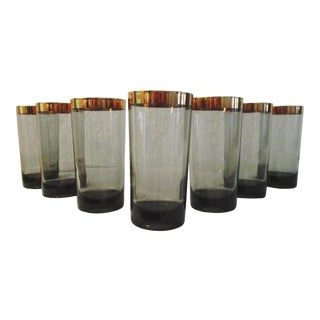 1970s Gold Banded Smoke Highball Glasses, Set of 7 For Sale