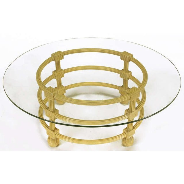 Jay Spectre Round Reeded Wood Coffee Table - Image 2 of 7