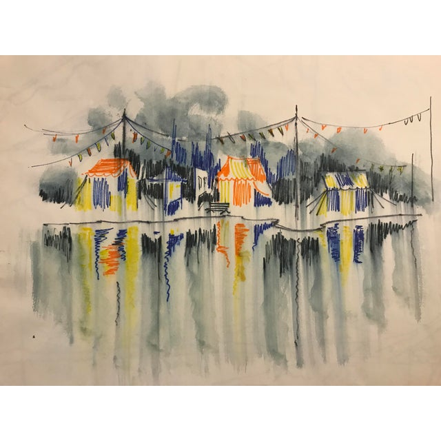 Carnival Vintage 1966 Circus Watercolor Painting For Sale - Image 3 of 3