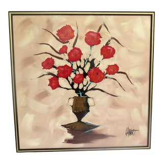 "1970s Vintage Lambert ""Red Roses"" Oil on Canvas Painting For Sale"