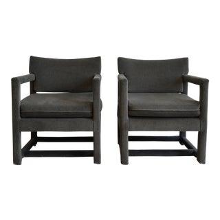 Mid-Century Modern Milo Baughman Style Gray Velvet Arm Chairs - a Pair