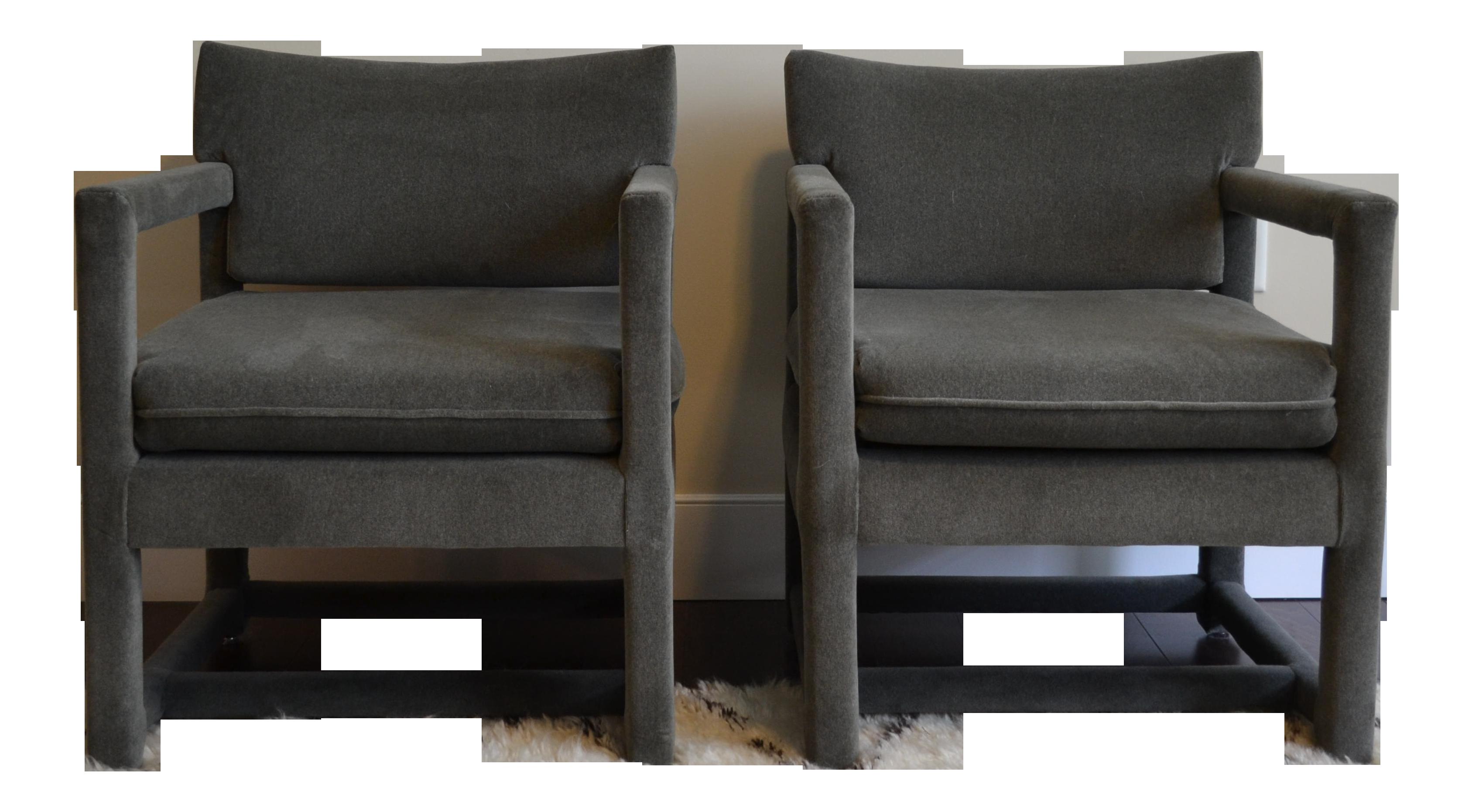 Mid Century Modern Milo Baughman Style Gray Velvet Arm Chairs   A Pair
