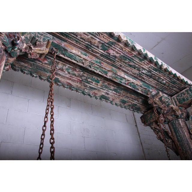 18th Century Ornate Carved Indian Jhula Bench Swing For Sale - Image 10 of 13