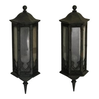 "Spanish Colonial Gothic Iron Wall Sconces Lanterns 34""- a Pair For Sale"