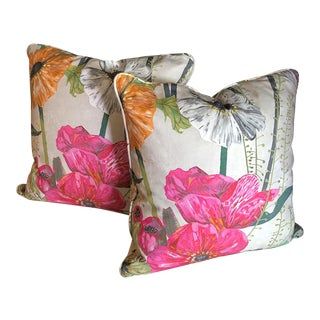 Masson Guild House Italian Fabric Rose Pink Orange Floral Pillows - a Pair For Sale