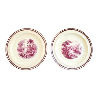 Antique Wedgwood Etruria Pink Transferware Plates - a Pair For Sale