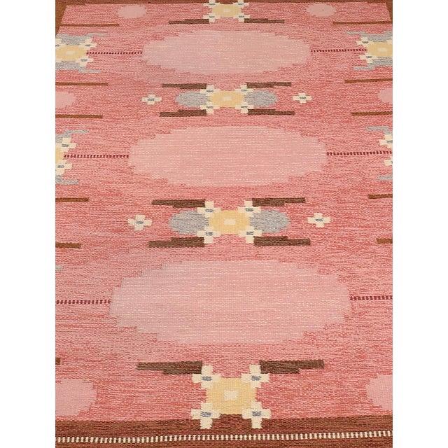 Mid-Century Modern VintageIngegerd Silow Handwoven Swedish Flat Weave Rug - 5′7″ × 7′7″ For Sale - Image 3 of 5