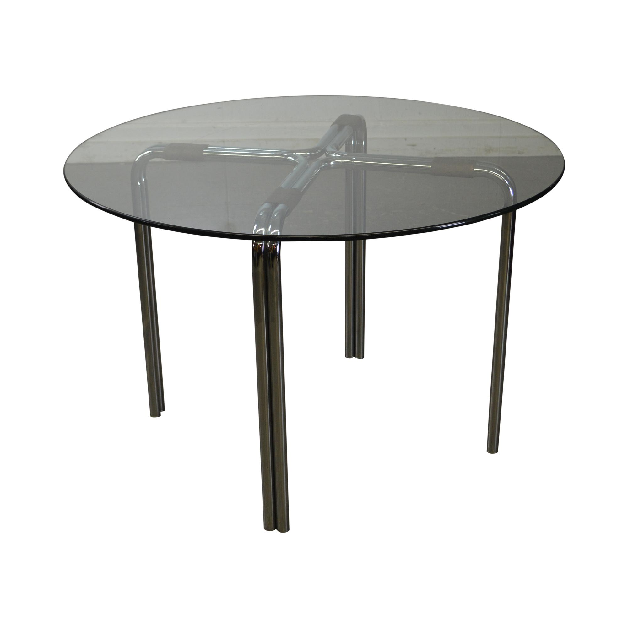 Mid Century Modern Chrome And Round Glass Cafe Table After Mies Van Der  Rohe For Sale