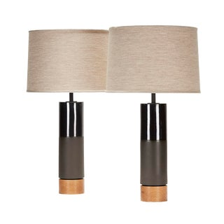 Hancock II Lamp in Black Clay With Anthracite Glaze - a Pair For Sale