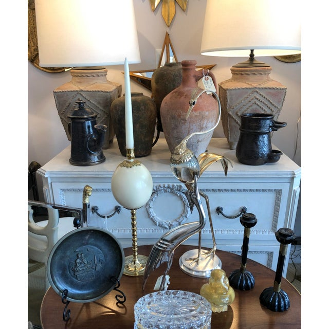 1960s Italian Ostrich Egg & Polished Brass Candle Holder For Sale - Image 5 of 6