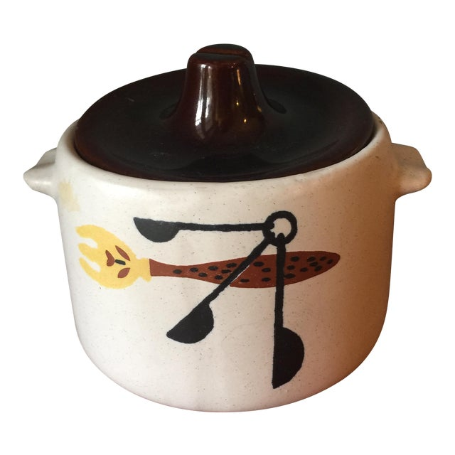 Mid-Century Kitchen Tools Graphic Ceramic Pot For Sale