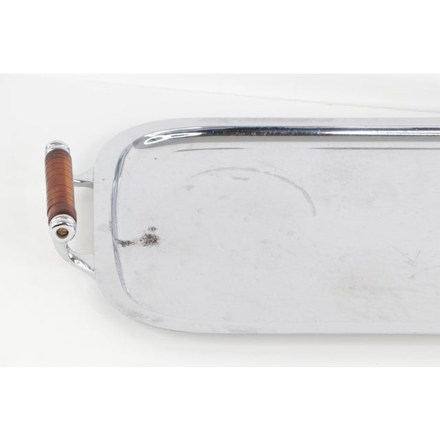 Mid-Century Modern Vintage 1960s Mid-Century Modern Manning Bowman Amber Lucite Handled Silver Tray For Sale - Image 3 of 9