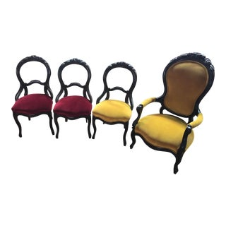 Late 19th Century Victorian Parlor Chairs- Set of 4 For Sale