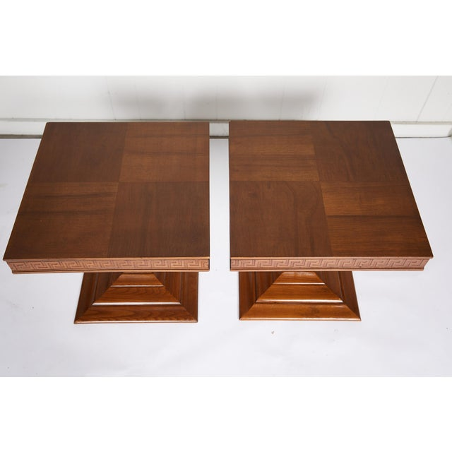 Mid Century Side Tables With Greek Key Detail - a Pair For Sale In Atlanta - Image 6 of 9