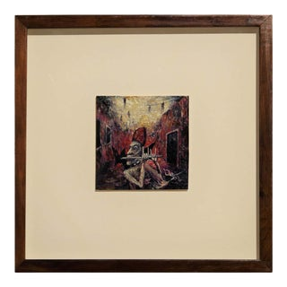 """1995 """"Pontiff Piping"""" Abstract Contemporary Black and Red Toned Painting by Michael Collins, Framed For Sale"""