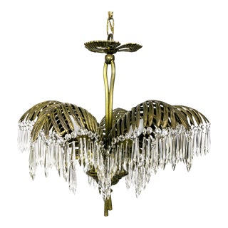 Palm Frond and Crystal Chandelier