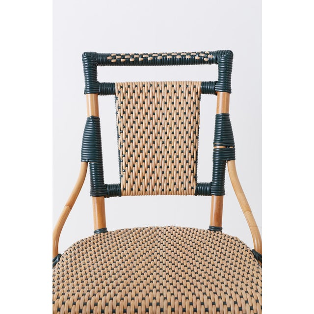 Pair of Palecek Bamboo Rattan Bistro Cafe Chairs For Sale - Image 4 of 13