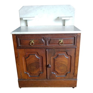 Late Victorian Eastlake Marble Top Walnut Commode