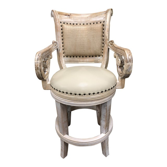 French Country Rustic Antique White Bar Stool For Sale