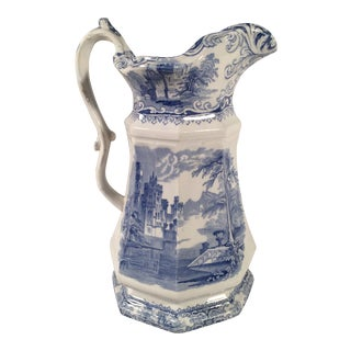 Antique Staffordshire Blue and White Pitcher For Sale