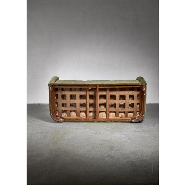 1930s Ole Wanscher Green Velour Sofa for Fritz Hansen, Denmark For Sale - Image 5 of 6