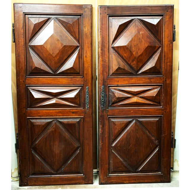 Late 18th C Antique French Oak Armoire Doors - a Pair For Sale - Image 13 of 13
