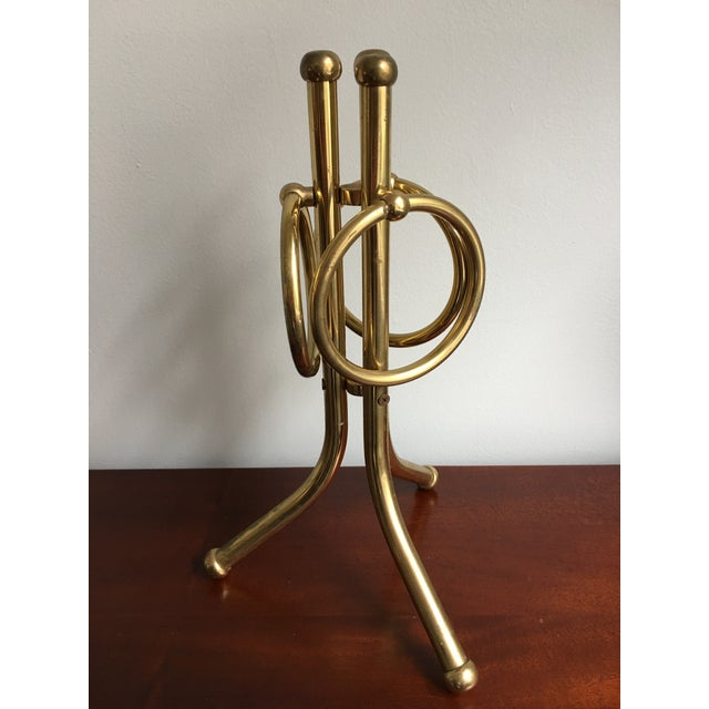 Mid-Century Brass Hand Towel Stand For Sale - Image 4 of 8