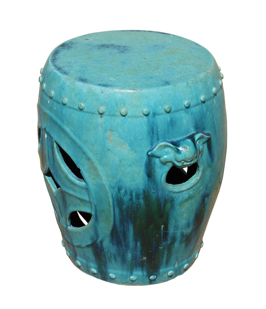 Chinese Distressed Turquoise Green Round Clay Ceramic Garden Stool Cs2842  For Sale In San Francisco